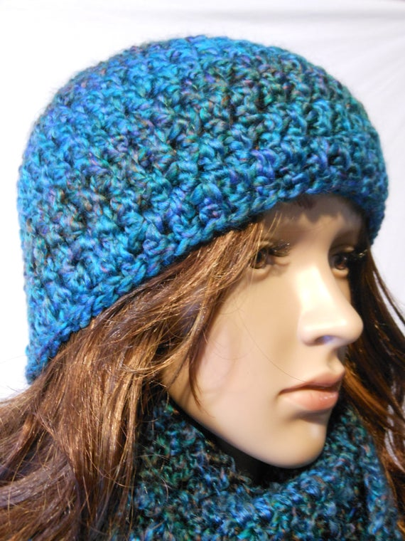 Blau Grün Gehäkelte Mütze Häkeln Beanie Damen Mütze Herren Etsy