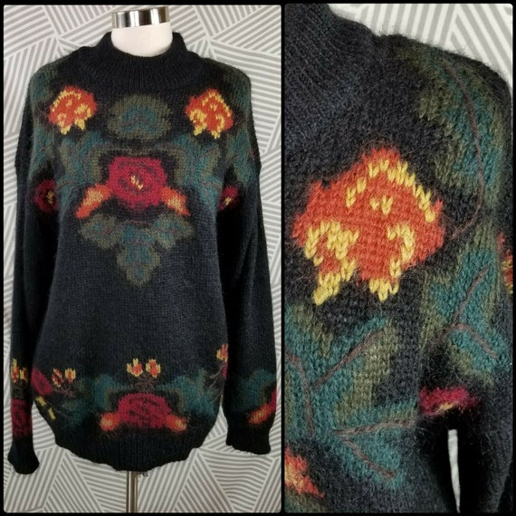 Vintage 90s Fuzzy Mohair Sweater Womens size Large