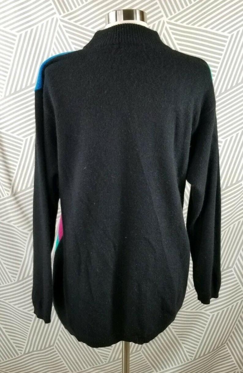 Vintage 80s 90s Angora Rabbit Hair Lambs Wool Sweater Color Block Tunic Mock Neck size Large
