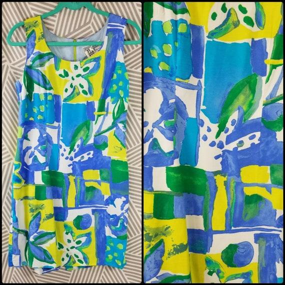 Hawaiian Dress Neon Size 8 petite Floral Green Tea