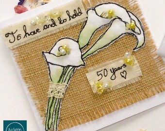 Wedding or Anniversary Card and Tag - Embroidered, hand painted and beaded