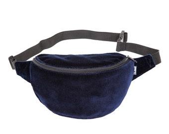 69b8fe3a0a6394 Bauchtasche, samt dunkelblau, Hipbag, Umhängetasche, Gürteltasche,  Hüfttasche