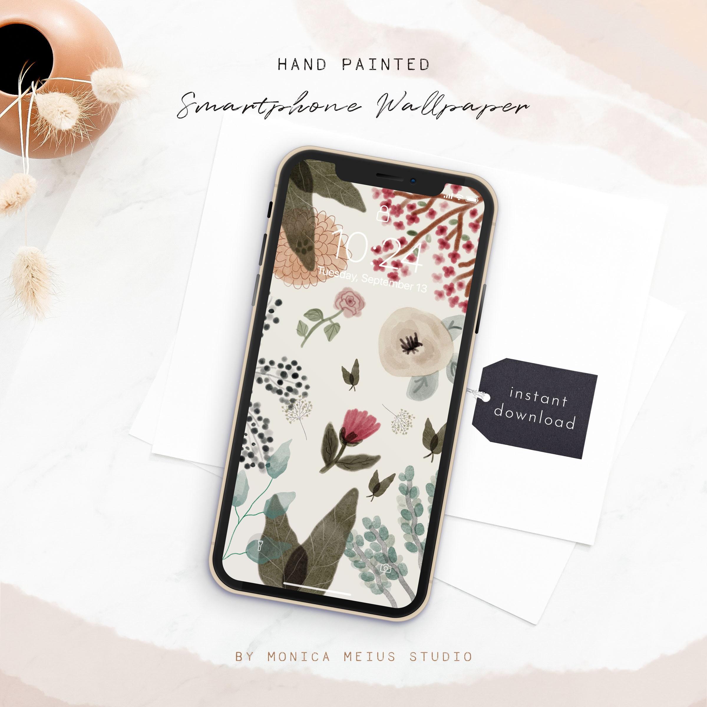Botanical iPhone Wallpaper, floral smartphone Wallpaper, phone background,  Mobile Phone Wallpaper, iPhone background,Lock screen wallpaper