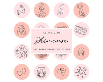 Instagram Story Highlight Icons - Skincare Covers, Esthetician Instagram Highlight Covers, Social Media Icons, pink blush instagram