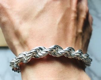 Popular style Diamond Rope Chain Bracelet 8mm for men in Sterling Silver