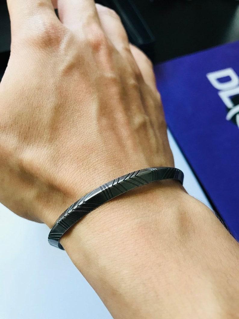 Silver Geometric Shape Cuff Open Bangle Adjustable Bracelet for men
