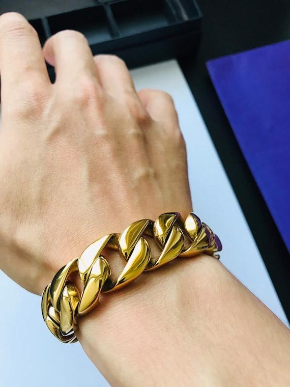 Curb Link Bracelet Men/'s 316L Stainless Steel Chunky Gold Cuban Chain Bracelet