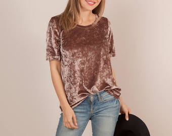 Women's Velvet Top | 10 Colors | Crushed Velvet Tee, Women, Versatile, Solid, Holiday, Christmas, Festive, Trendy