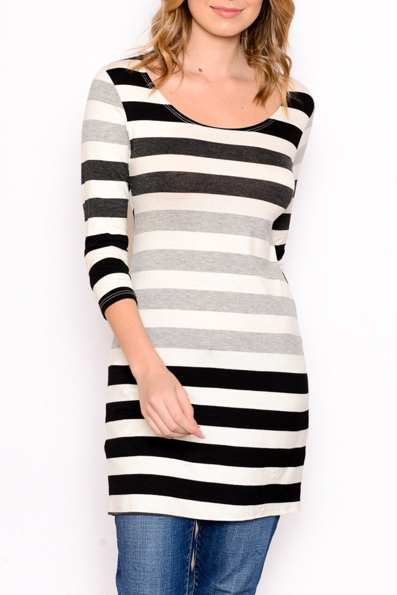 knit round neck Striped 34 Sleeve Tunic Women/'s tunics spring black and white summer comfortable cute casual stretchy maternity