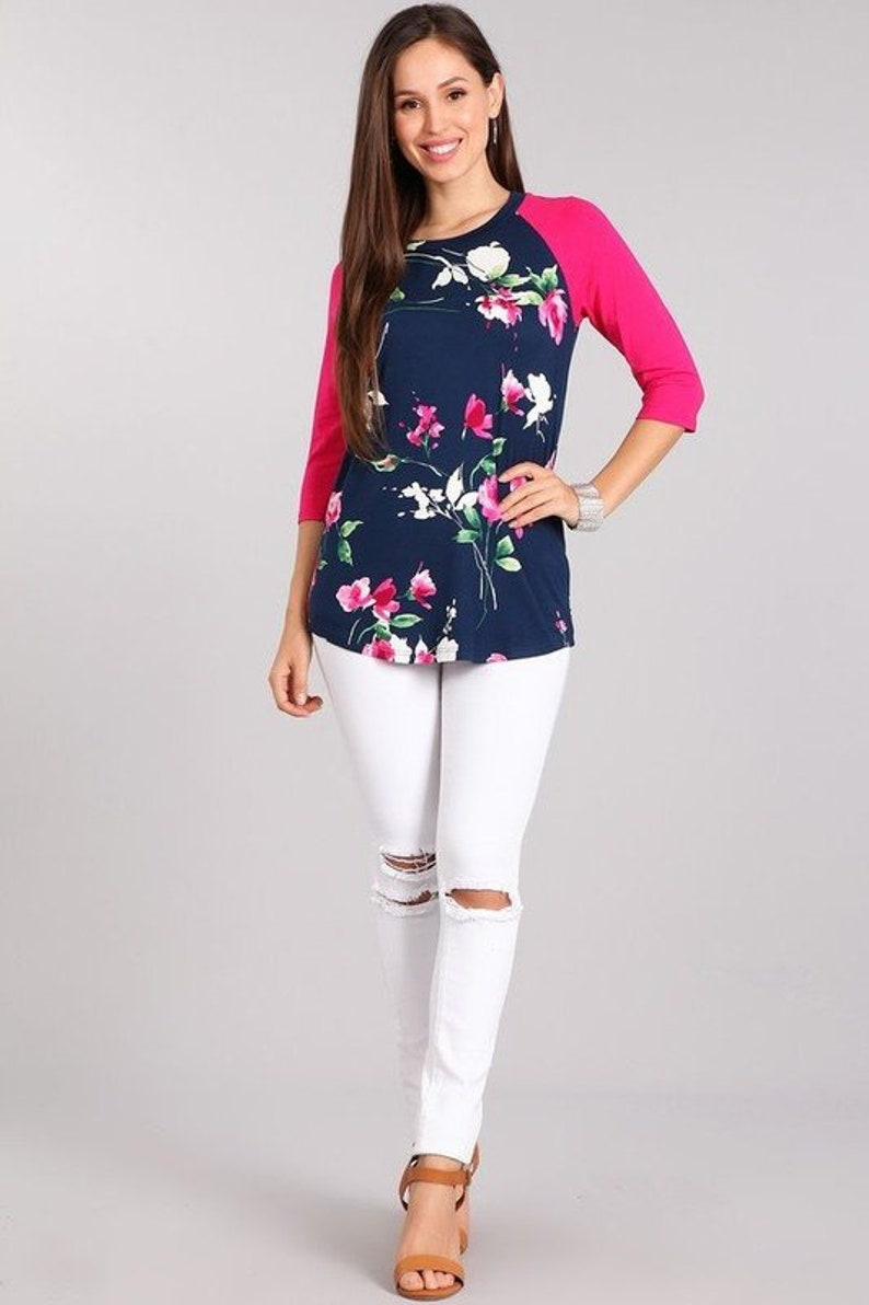 94f4c1676 Floral Raglan Tee | S-3X | Women's clothing, womens, top, tops, baseball  tee, baseball, cute, floral, plus size, plus, plus tops, 3/4 sleeve