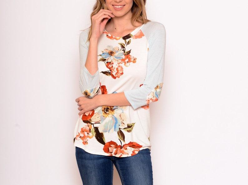 bf4ce790eb0d Fun Floral Raglan S-3X Women's clothing floral   Etsy