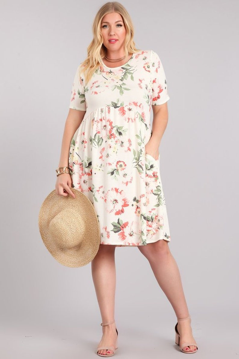 eb86468fee Ultra Soft Floral Dress 2 Colors S-3X Women s
