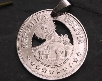 BOLIVIA Alpaca, Sun Smile and Mountains Cut Coin, Bolivian Gifts, Bolivian Necklace, Alpaca, Sun and Mountans, La paz, Alpaca Necklace
