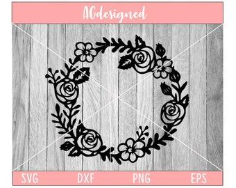 flower border, flower svg, flower border svg, floral wreath svg, wreath svg, cut file, printable, instant download, digital design,cut file