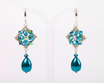 Crystal square and pearl drop earrings