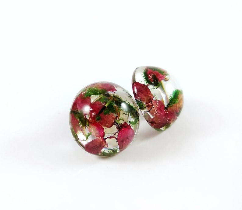 Heather moss earrings studs Real flower earrings Pink flower studs Resin earrings Silver stud earrings Botanical jewelry Nature jewelry