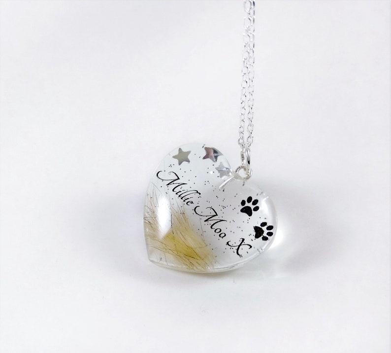 Custom pet hair keepsake Personalised memorial Christmas gift Loss of dog name keyring Fur keepsake Heart memorial locket Pet loss jewelry