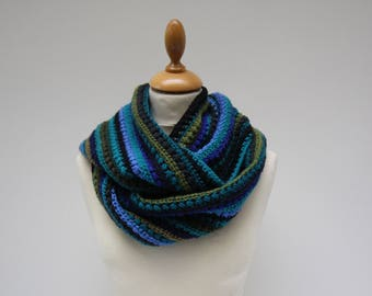 Colorful wool crochet circle scarf with delighted stitch