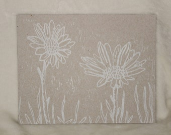 White Daisy Relief Print