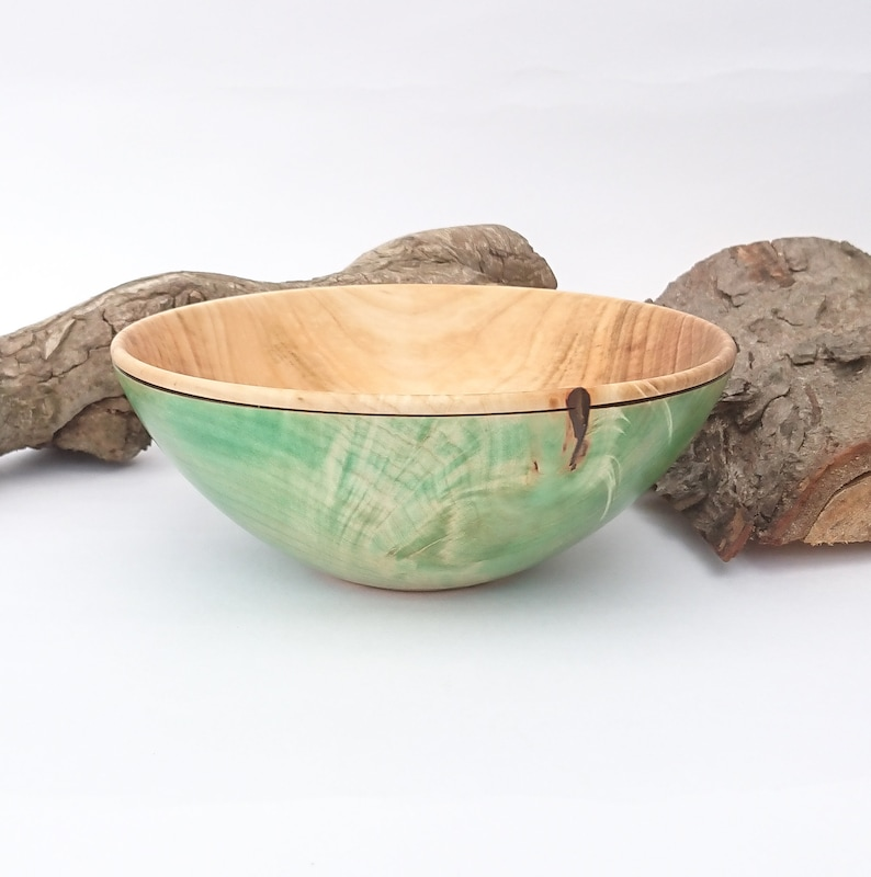 Woodturned Bowl In Chestnut With A Green Woodstain Finish Etsy