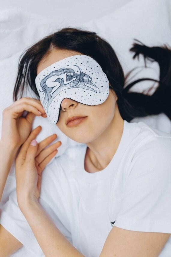 Printed sleep mask Aliens Satin sleep mask Eye mask Handmade sleep mask Unisex Travel Relaxation