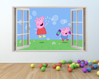 Peppa & George Pig Window Effect Vinyl Wall Art Sticker (p103)