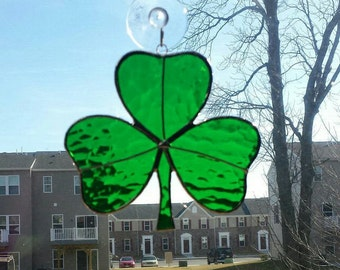 Stained glass shamrock, St Patrick's day stained glass