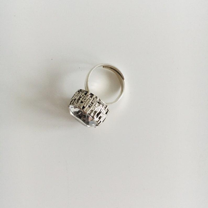 1968 Bengt Hallberg A big Modernist sterling silver and Rock Crystal ring Made in Sweden