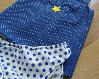 Dot baby dress, diaper cover and headband
