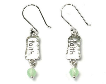 b5887245f Sterling silver Triangle Faith dangle earrings with dangle apple quartz  beads, green beads jewelry, silver dangle earrings, gift for her,