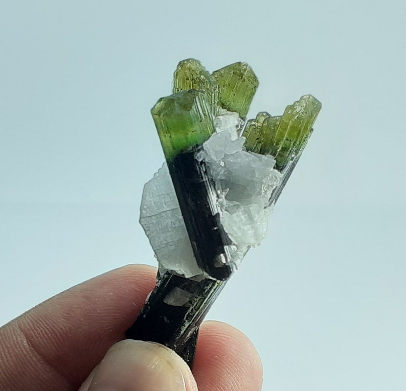 110 carat Natural double terminated tourmaline crystal bunch of tourmaline cluster green head tourmaline bi color raw tourmaline crystal