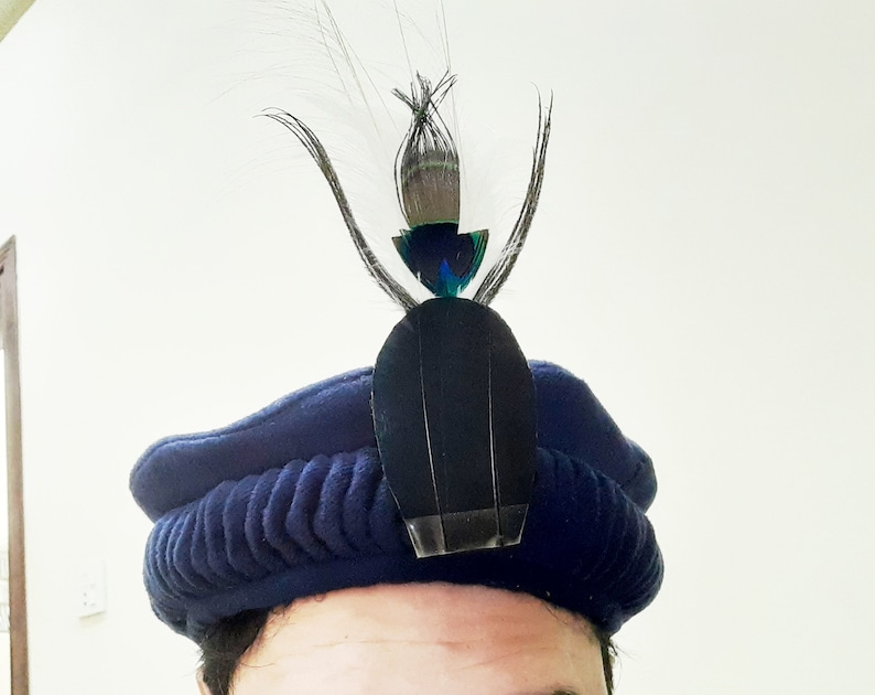 Blue color Handmade Afghan pakol hat with crown feather