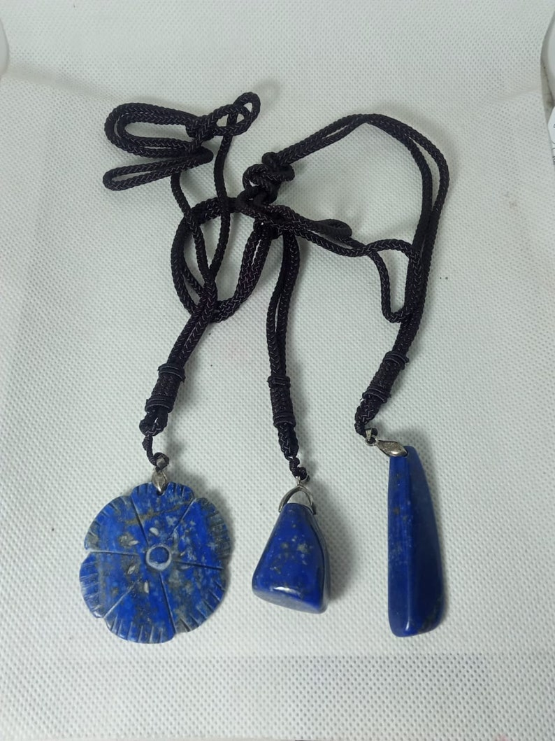 3 piece natural lapis lazuli polished  necklace  pendant  from afghanistan