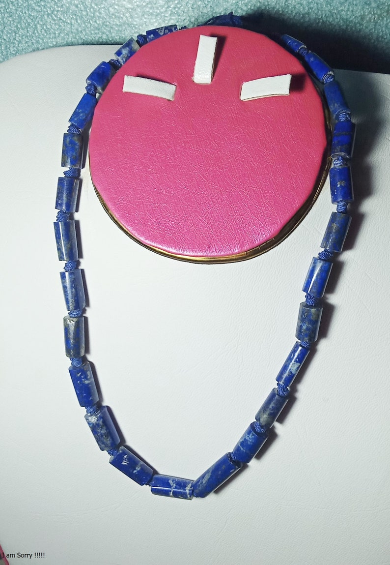 18 inch natural lapis lazuli polished necklace  pendant  from afghanistan s2