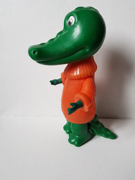 Vintage Soviet Plastic Toy Plastic, USSR Children's Toy,Cartoon Character,CROCODILE GENA, Russian Vintage Kids toy,Polyethylene 1970's,Gift