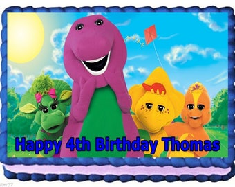 Barney Edible Image Frosting Sheet Cake Topper Birthday Decoration