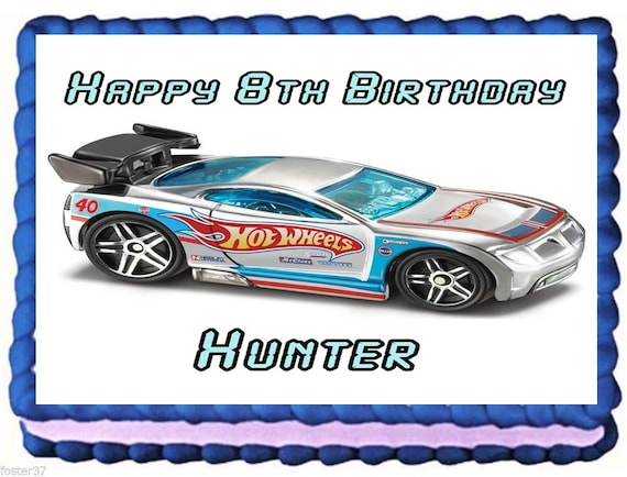 Hot Wheels Edible Image Frosting Sheet Cake Topper Birthday Etsy