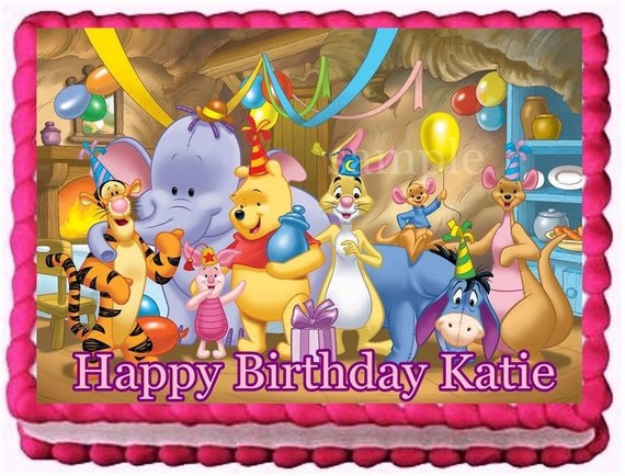 Winnie The Pooh Edible Cake Topper Birthday Decoration Etsy