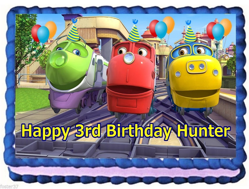 Remarkable Chuggington Edible Cake Topper Birthday Decoration Etsy Funny Birthday Cards Online Overcheapnameinfo