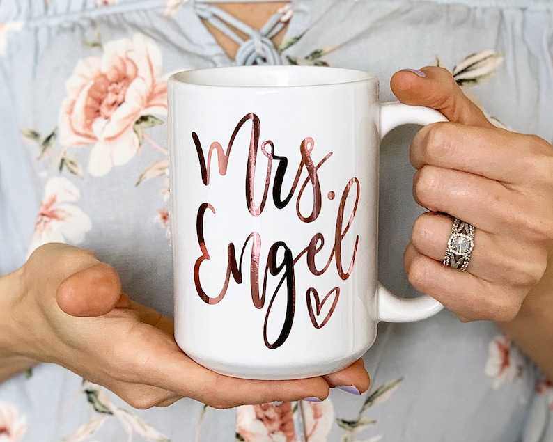 Gold Ring Coffee Mug engagement gift for her Personalized Future Mrs
