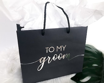 To My Groom on our wedding day gift bag, Wedding Gift Bags, Personalized Groom Gift Bag, Bride & Groom Gift Bags, Bridal Party Gift Bags
