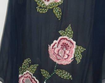 dark blue chiffon skirt