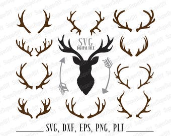 Deer Antler SVG Deer Horn DXF  Antler Clipart SVG Files for Silhouette Cameo or Cricut transfer on fabric Hunter T-Shirt commercial use
