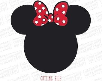 Minnie Mouse SVG Instant Download Minnie Mouse Head Vector Clipart Minnie Mouse Cut File, Minnie Mouse for Silhouette and Cricut