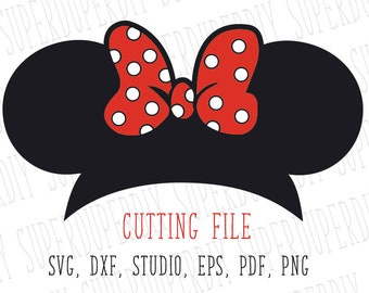 Minnie Mouse SVG, Minnie mouse svg instant Download, Minnie Mouse cut file for Silhouette and Cricut disney trip svg, Minnie ears Minnie bow