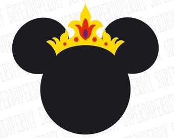 Minnie Mouse SVG Crown Tiara Instant Download Head Clipart Cut File For Silhouette And Cricut
