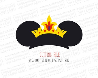Minnie Mouse SVG Minnie crown tiara Instant Download Minnie Mouse Head Clipart Minnie Mouse Cut File, Minnie Mouse for Silhouette and Cricut