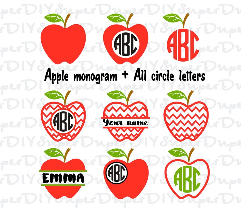 Chevron Apple Monogram Svg Chevron Apple Svg Apple Svg Etsy