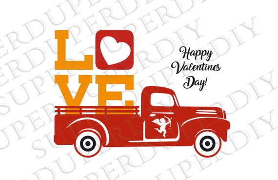 Valentine S Day Svg Truck With Hearts Svg File Valentines Etsy