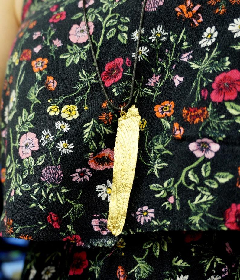 Natural Pendant Big Pendant Rope Necklace Bitter Orange Pendant Leaf Pendant Adjustable Necklace Everyday Necklace Long Necklace